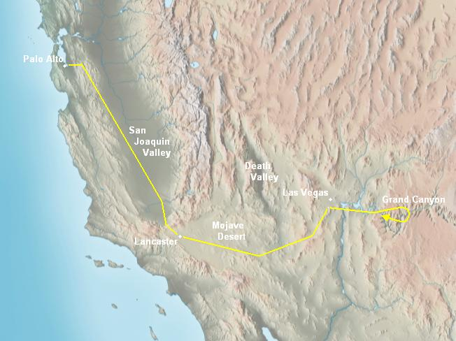 Relief Map For The Las Vegas And Grand Canyon Trip