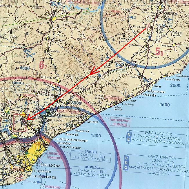 Maps from Girona LEGE to Sabadell LELL 3 Jan 2006