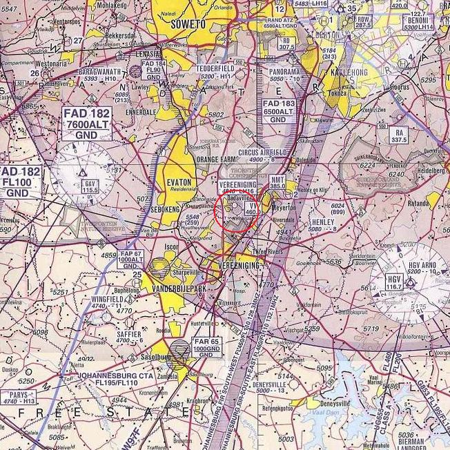 Maps from Tedderfield Airpark FATA to Vereeniging FAVV 27 Feb 2010